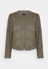 Selected Femme - SLFMONAY SUEDE JACKET - Leather jacket - granite grey - 0
