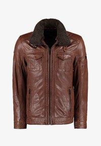 DNR Jackets - MIT TEDDYFELLKRAGEN - Leather jacket - hellbraun - 0