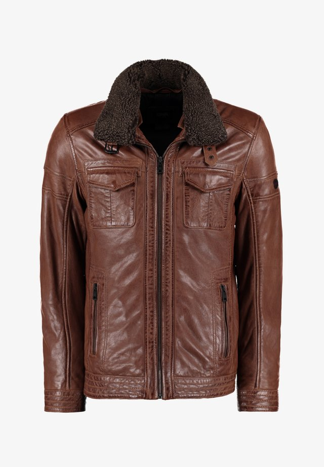 MIT TEDDYFELLKRAGEN - Leather jacket - hellbraun