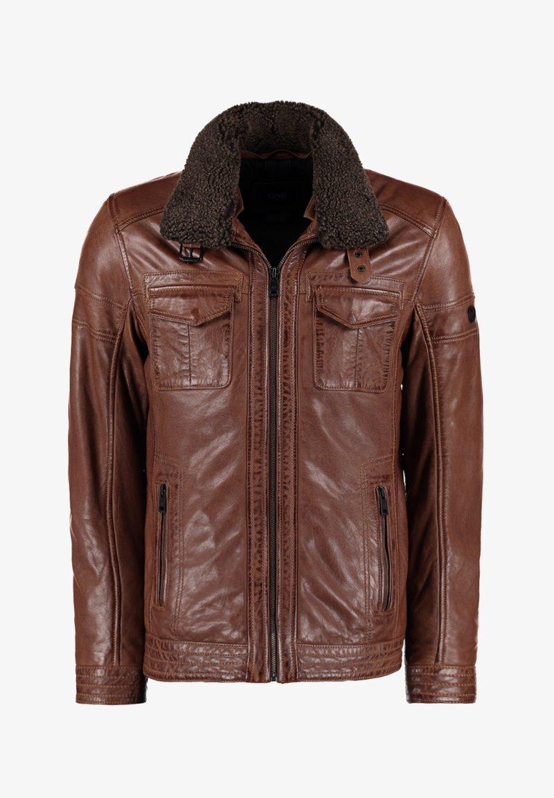 DNR Jackets - MIT TEDDYFELLKRAGEN - Leather jacket - hellbraun