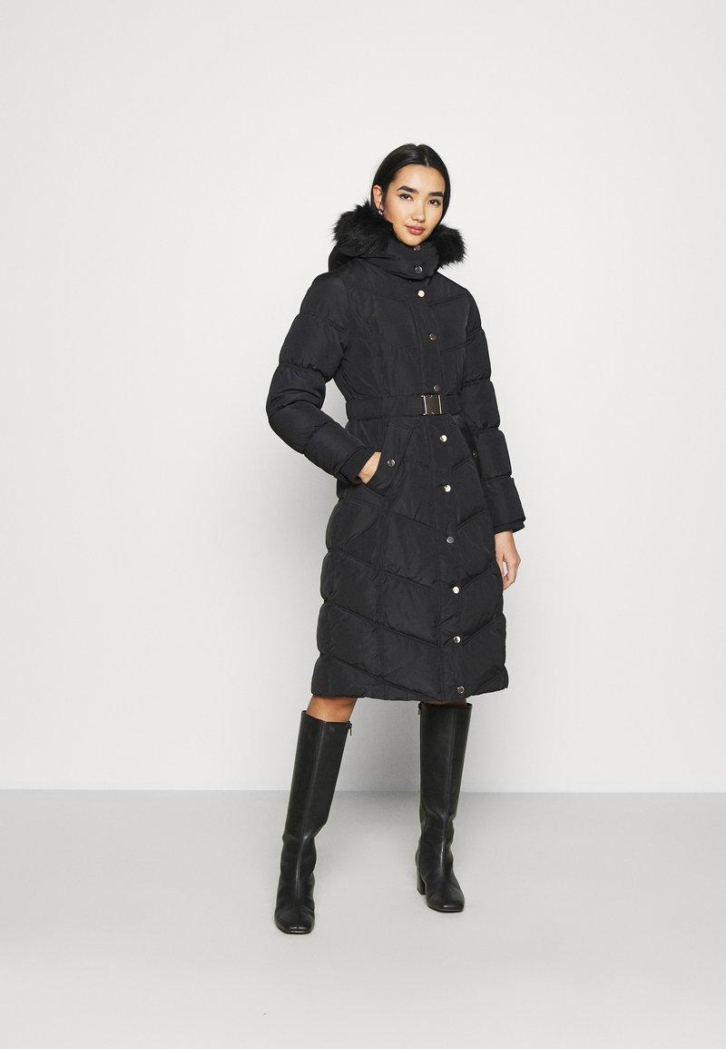 River Island - BELTED PUFFER - Winter coat - black