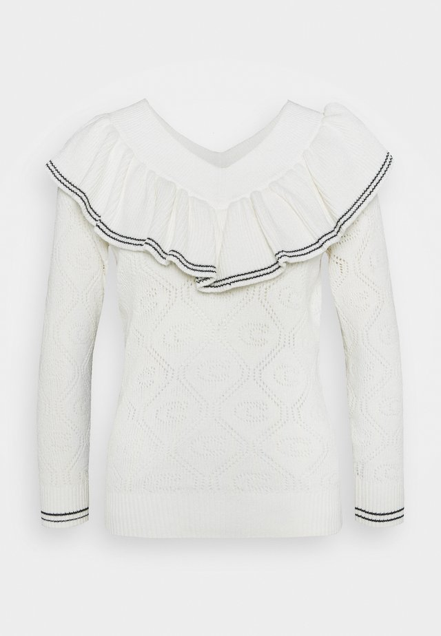 RUFFLED COLLAR SWEATER - Pullover - ivory