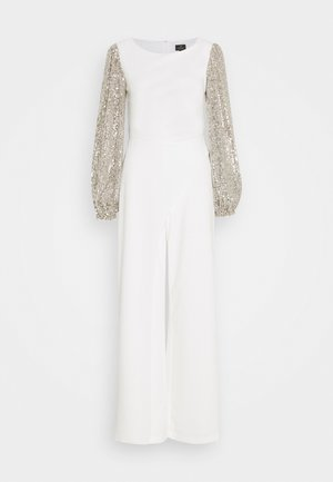 SEQUIN UNCREPE JUMPSUIT - Overall / Jumpsuit - silver stroke ivory