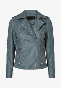 Vero Moda - VMWORLD SHORT - Faux leather jacket - dark blue - 3