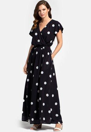 Maxi dress - white polka dots on black
