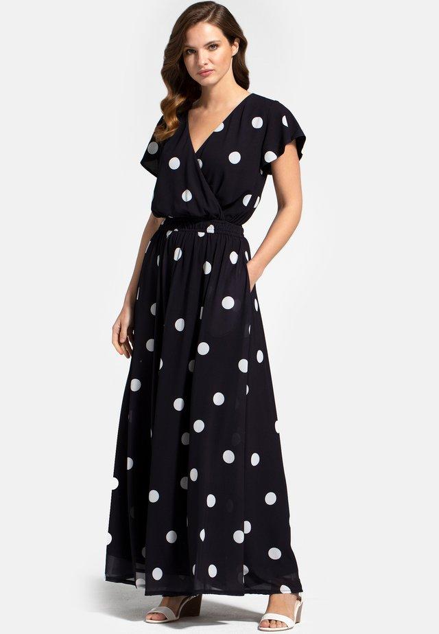 Maxi-jurk - white polka dots on black
