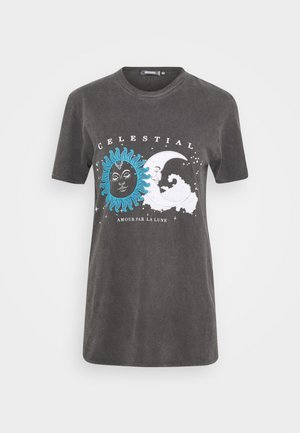 COSTELLO MOON AND STARS GRAPHIC TEE - Print T-shirt - charcoal