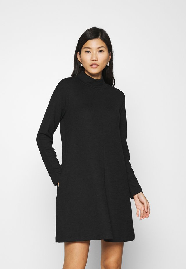 MOCK NECK DRESS OTTOMAN - Strickkleid - true black