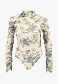 Missguided - PORCELAIN PRINT HIGH NECK BODYSUIT - Top sdlouhým rukávem - nude - 4