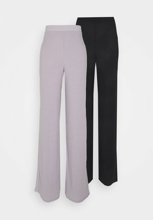 2 PACK RIB WID LEG TROUSER - Kangashousut - black and grey