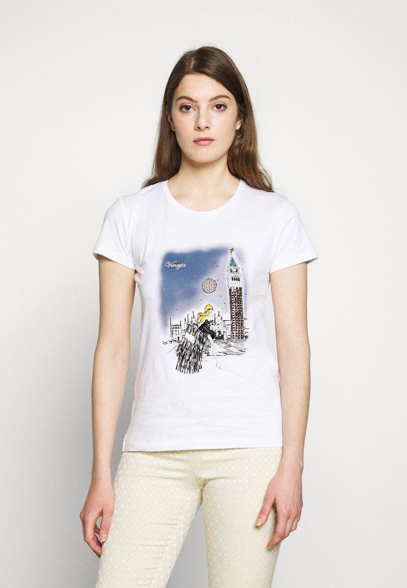Patrizia Pepe - MAGLIA - T-shirts med print - bianco/venezia