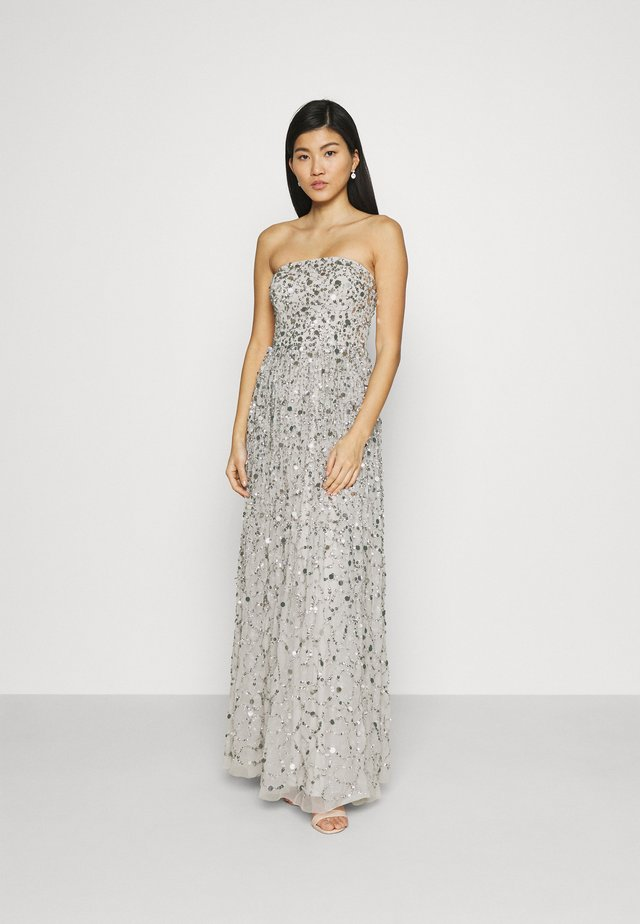 ALL OVER EMBELLISHED BANDEAU MAXI - Abito da sera - soft grey