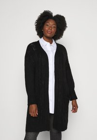 CAPSULE by Simply Be - COSY LONGLINE DEEP CUFF CARDI - Cardigan - black - 0