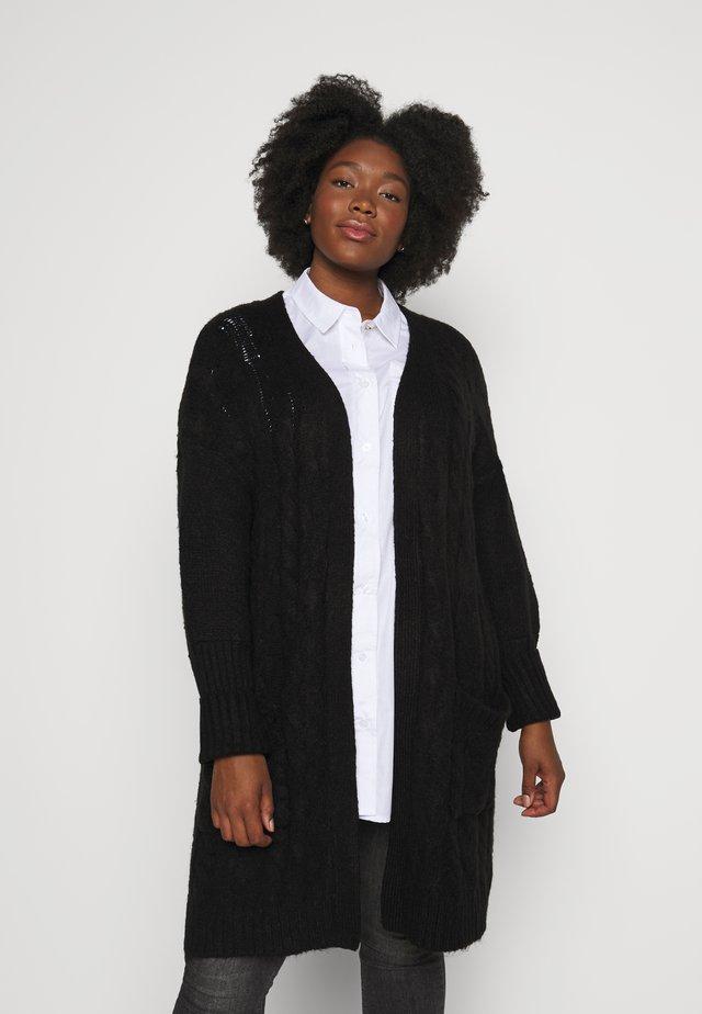 COSY LONGLINE DEEP CUFF CARDI - Cardigan - black