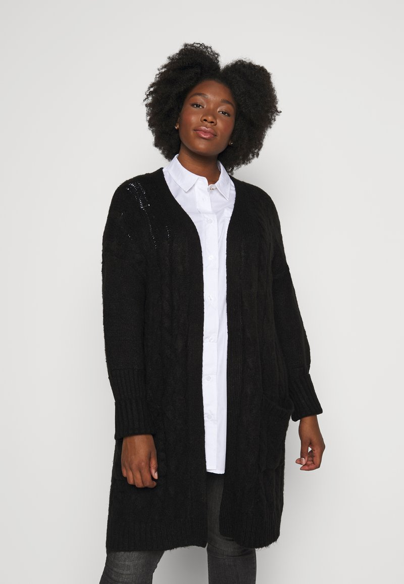 CAPSULE by Simply Be - COSY LONGLINE DEEP CUFF CARDI - Cardigan - black