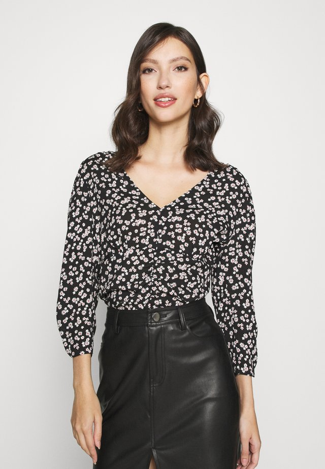 FLORAL V NECK BLOUSE - Long sleeved top - black