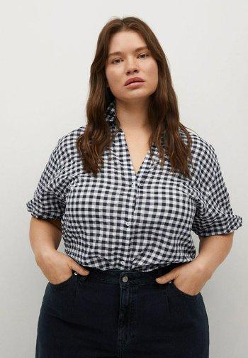 MIT VICHY-KAROMUSTER - Button-down blouse - dunkles marineblau