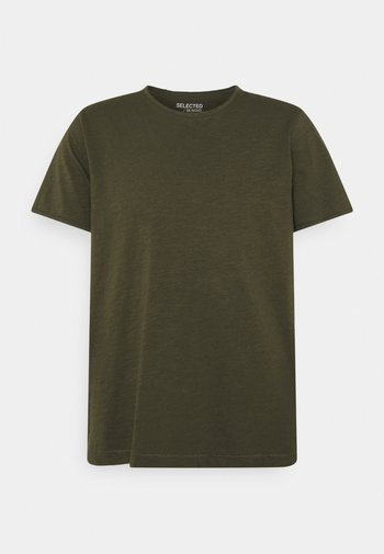 SLHMORGAN O-NECK TEE - T-shirt basic - forest night