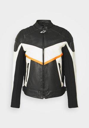 ASTARS-LDUE-B JACKET - Kožená bunda - black/white/orange