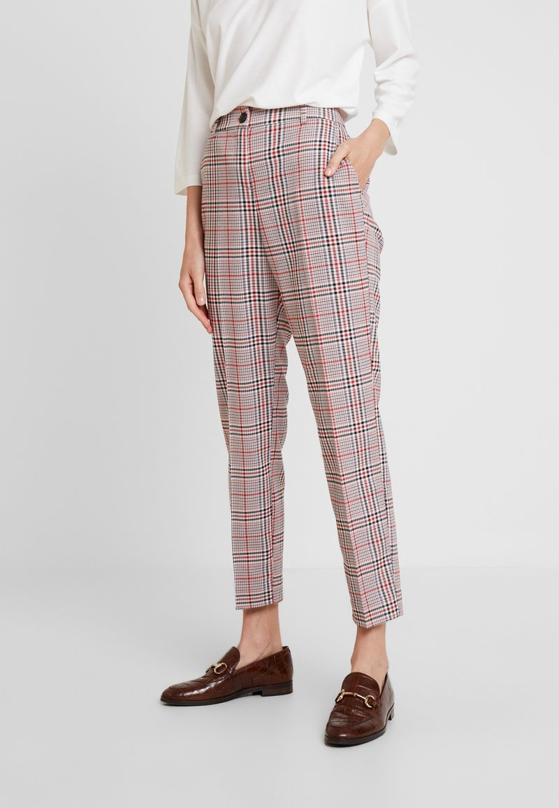 TOM TAILOR - MIA - Trousers - black/orange/grey