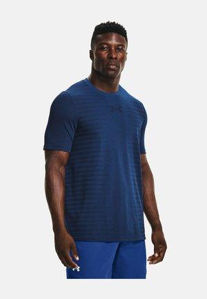 UA SEAMLESS WORDMARK SS - T-shirt print - dark blue