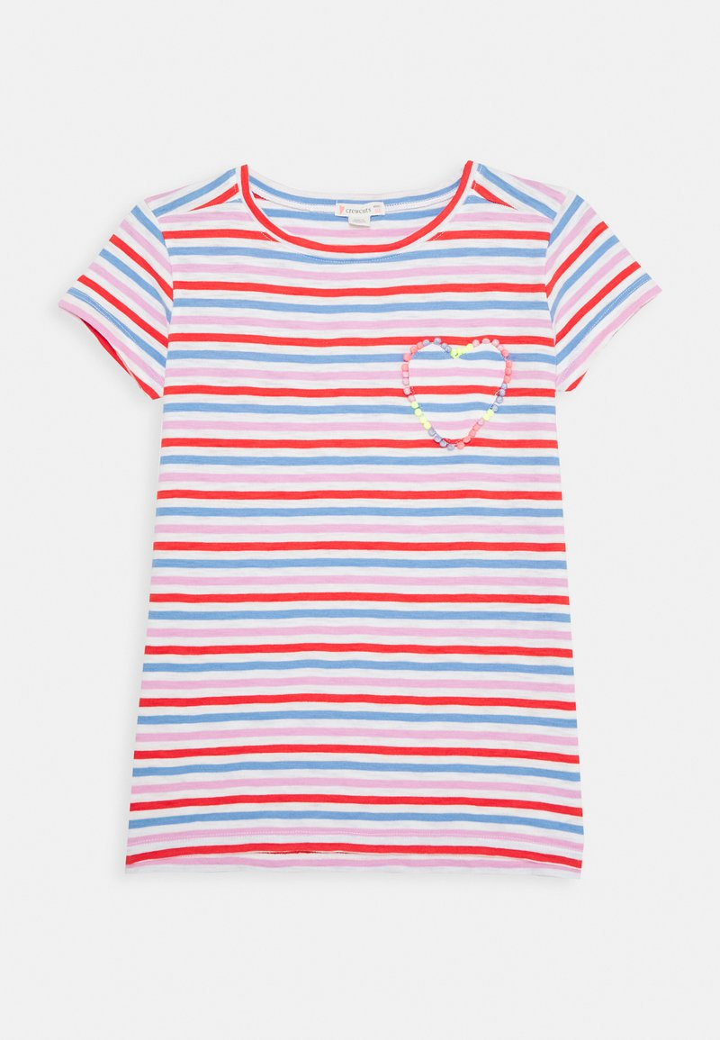 J.CREW - ISA TEE WITH HEART - Triko spotiskem - red orchid multi
