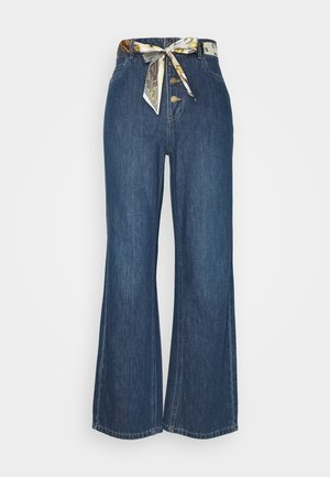 ONLMOLLY BELT LIFE WIDE - Flared Jeans - dark blue