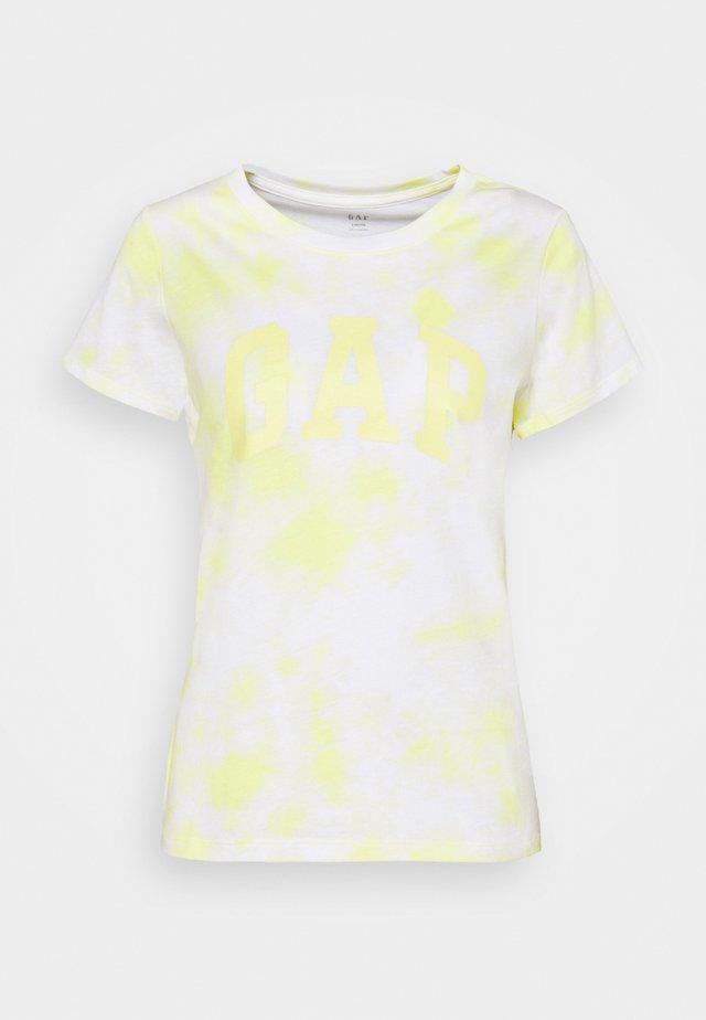 TEE - Triko spotiskem - yellow tie dye
