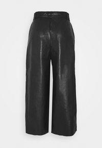 Vila - VIVIVI HWRE CROPPED COATED PANTS - Kalhoty - black - 1