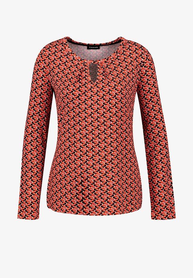 RUNDHALS  - T-shirt à manches longues - carmine red gemustert