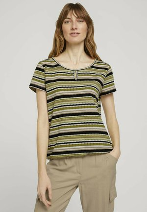 MIT STREIFENSTRUKTUR - Print T-shirt - green multicolor stripe