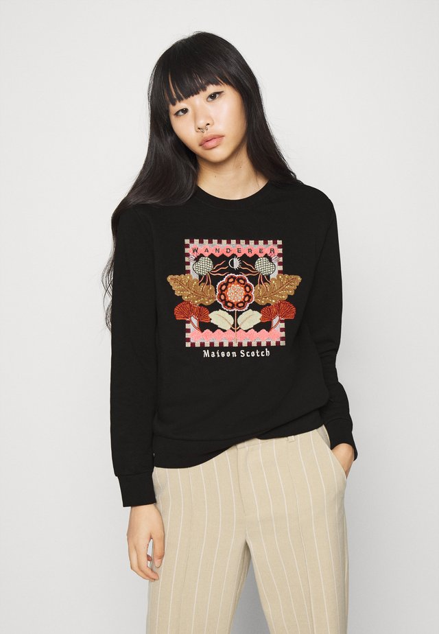 CREWNECK EMBROIDERED ARTWORK - Mikina - black