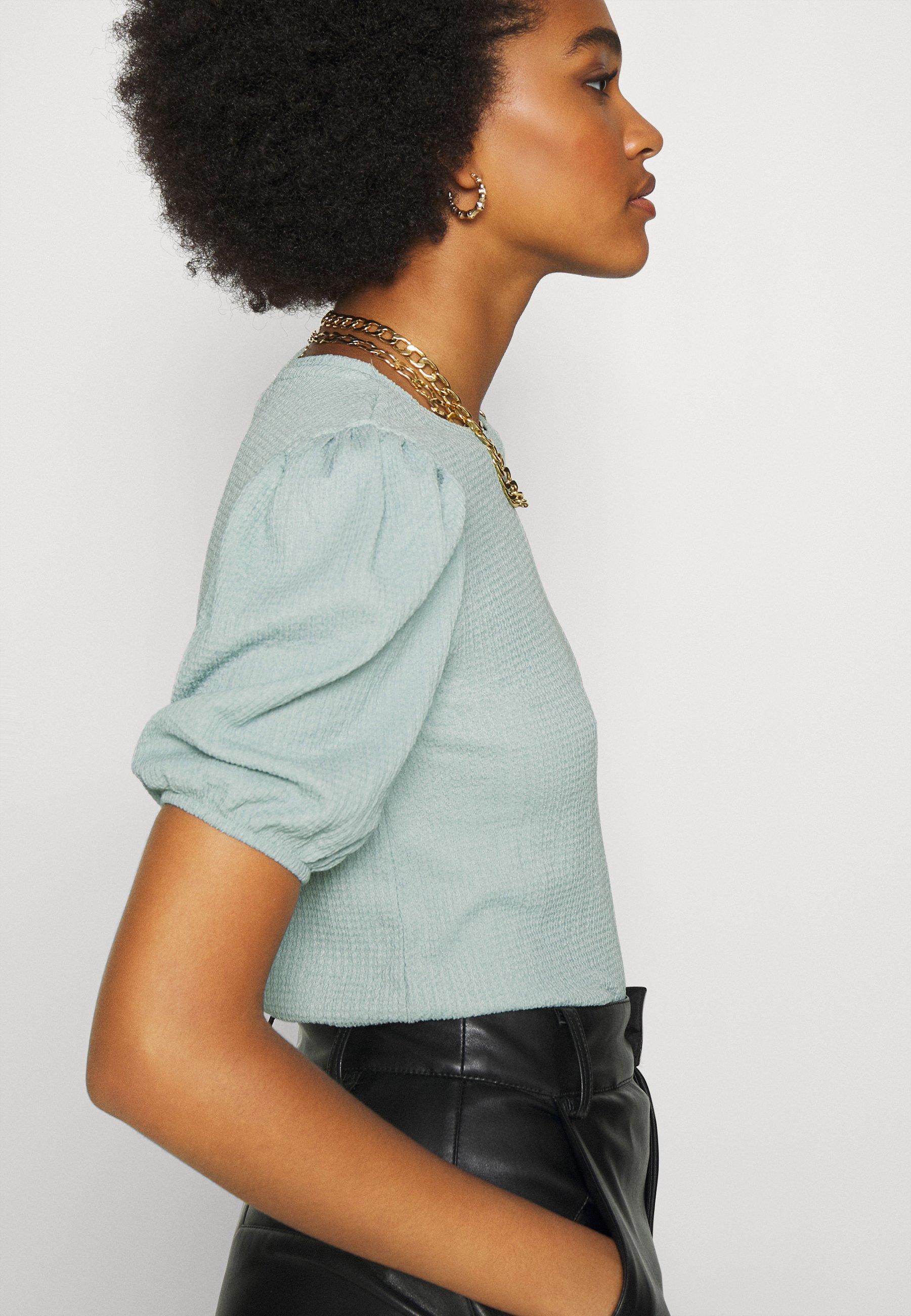 Na-kd Puff Sleeve - T-shirts Med Print Dusty Blue/blå