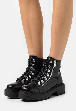 Lace-up ankle boots - black mix