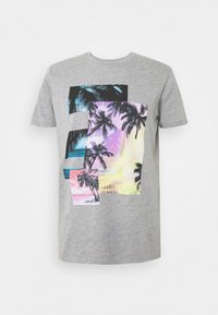 Print T-shirt - mottled grey