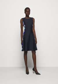 DKNY - FIT AND FLARE - Jersey dress - navy/cream/multi - 1