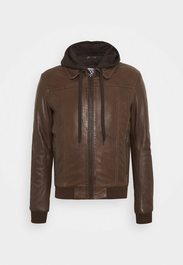 HOOD - Leather jacket - mocca