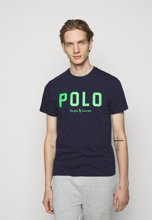T-shirt con stampa - french navy/neon green