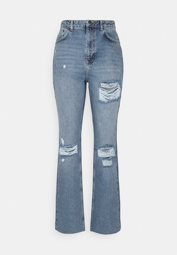 DESTROYED DETAIL HIGH WAIST - Jeans relaxed fit - blue