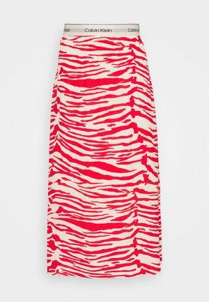 ZEBRA PRINT LOGO SKIRT - Áčková sukně - red