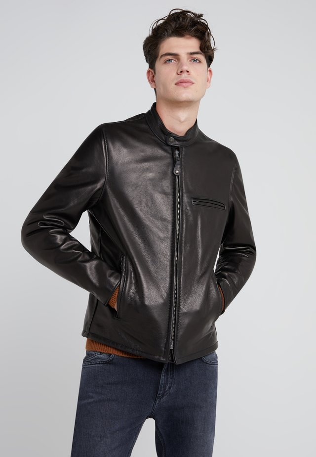 CAFE RACER - Leather jacket - black