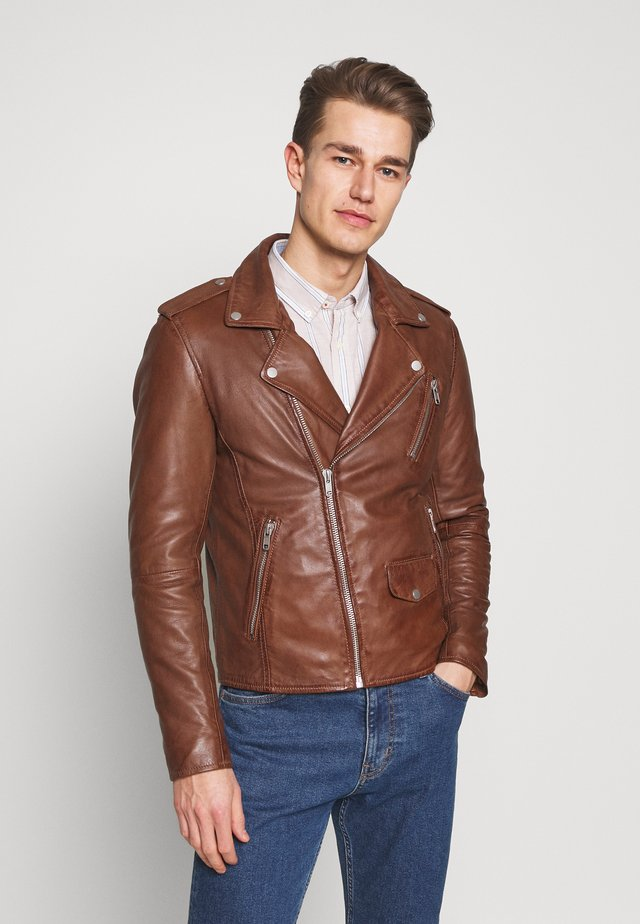 ROCKY - Leather jacket - cognac