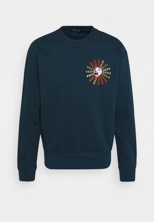 CREWNECK  WITH ARTWORK IN MIXED TECHNIQUES - Collegepaita - arctic teal