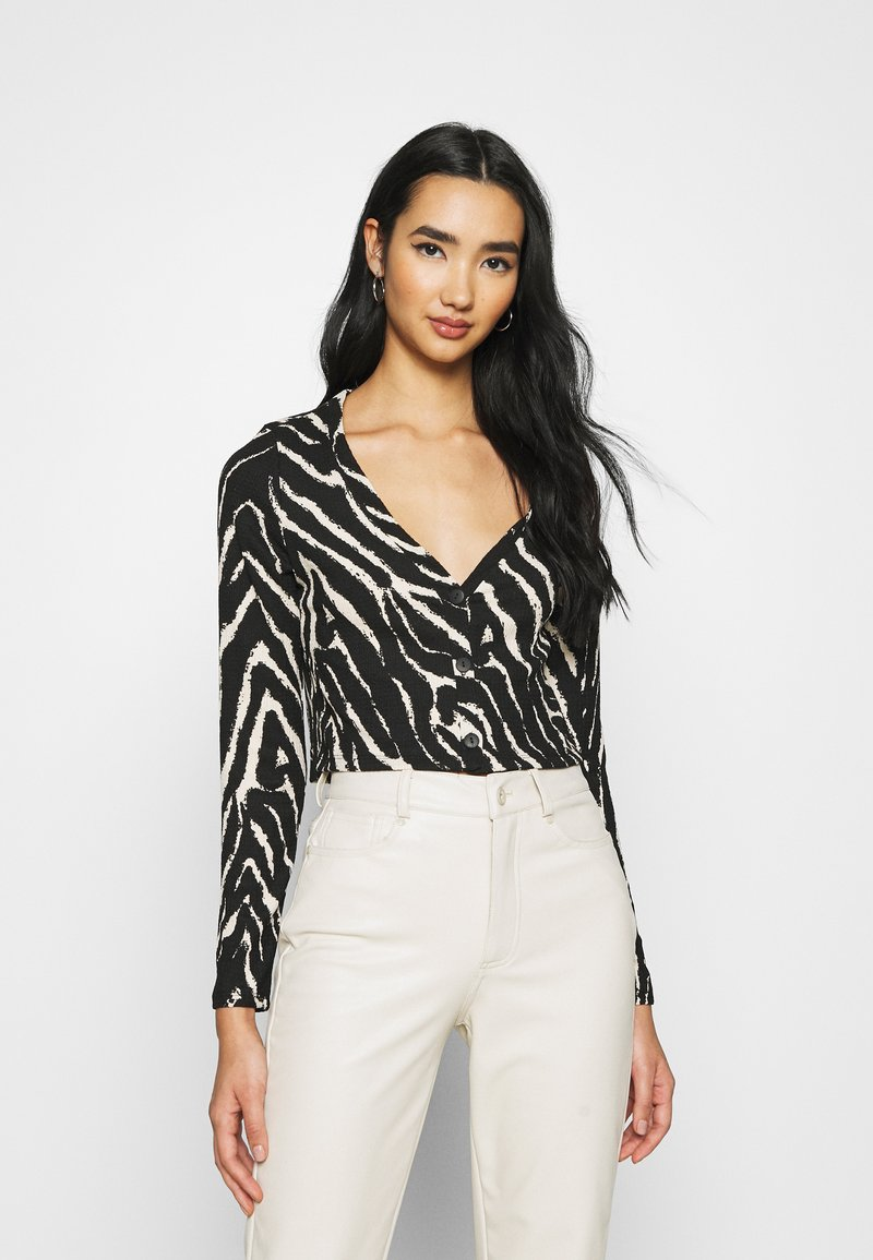 Monki - ESTHER - Long sleeved top - black/white