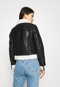Who What Wear - ZIP FRONT JACKET - Faux leather jacket - black/cream - 2