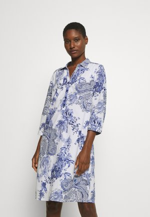 DRESS - Skjortekjole - white/blue
