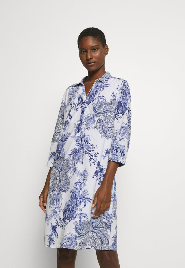 DRESS - Shirt dress - white/blue