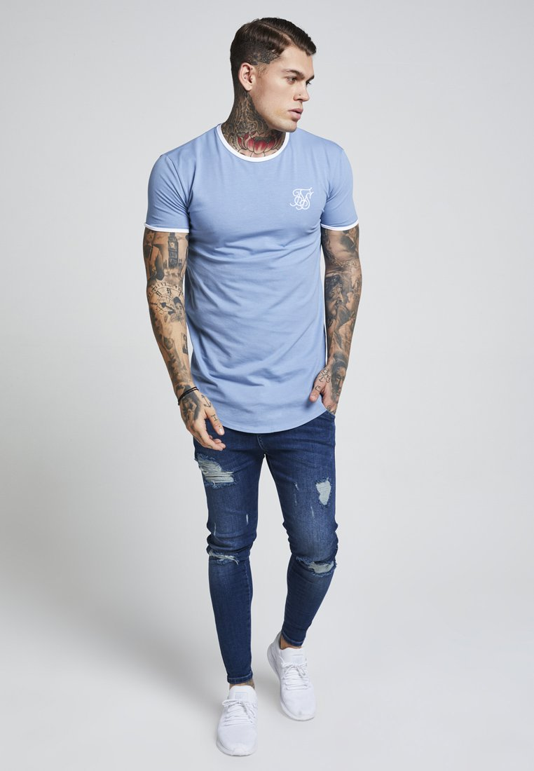 SIKSILK - HERITAGE GYM TEE - T-shirt print - faded denim