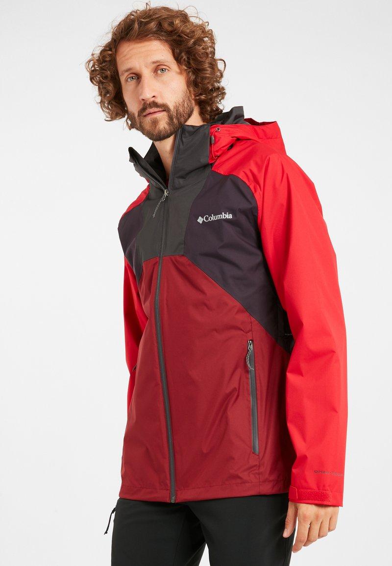 Columbia - RAIN SCAPE - Waterproof jacket - dark purple, mtn red, red jasper, shark
