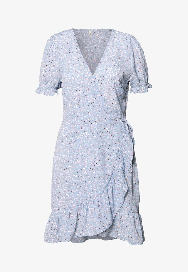 PRINTED WRAP DRESS - Vestido informal - light blue